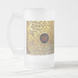 Fallnの旧式な金渦巻 フロストグラスビールジョッキ