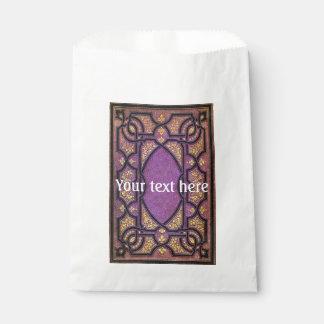 Fallnの紫色及び金ゴールドのつる植物の表紙 フェイバーバッグ