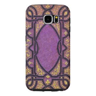 Fallnの紫色及び金ゴールドのつる植物の表紙 Samsung Galaxy S6 ケース