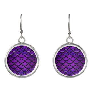 Fallnの紫色及び青の人魚のスケール イヤリング