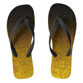Fallnの黄色及び黒いグリッターの勾配 ビーチサンダル