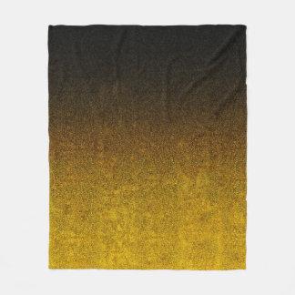 Fallnの黄色及び黒いグリッターの勾配 フリースブランケット