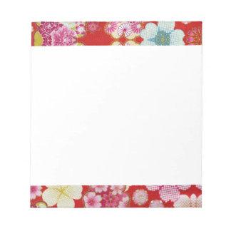 Falln深紅色の花のChirimen ノートパッド