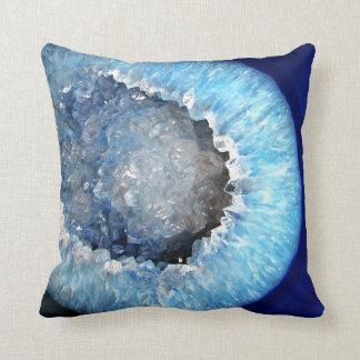 Falln青い水晶Geode クッション