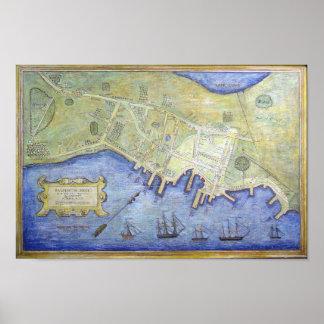 Falmouthの首メイン(1775年)のヴィンテージの地図 ポスター