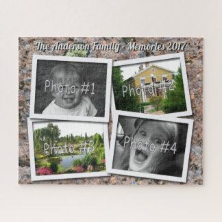 Family Memories 4 x Custom Photos on Rock ジグソーパズル