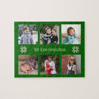 Family photos custom text green frame christmas ジグソーパズル