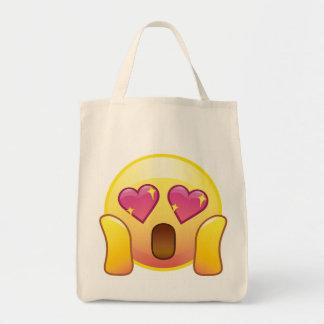 Fangirlの熱狂するなハートの目の輝きのEmojiの戦闘状況表示板 トートバッグ