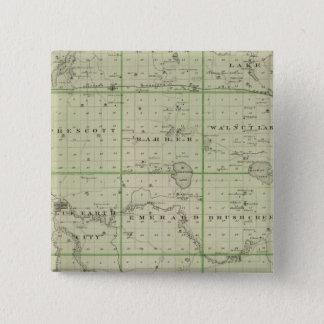 Faribault郡、ミネソタの地図 5.1cm 正方形バッジ