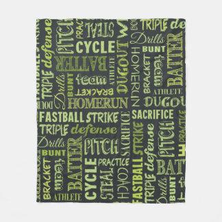 Fastpitchのソフトボールの黒板の言葉 フリースブランケット