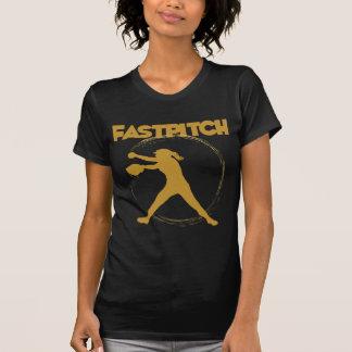 Fastpitchの暗い金ゴールド Tシャツ