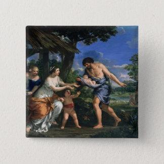 Faustulus委託のRomulusおよびRemus 5.1cm 正方形バッジ