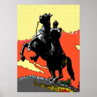 Fauvist色のアンドリュー・ジャクソンの彫像 ポスター