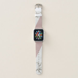 Faux Blush Leather Marble Apple Watchバンド