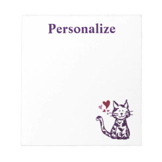 Faux Glitter Purple Cat with Hearts ノートパッド
