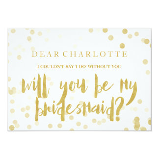 Faux Gold Confetti Will You Be My Bridesmaid カード