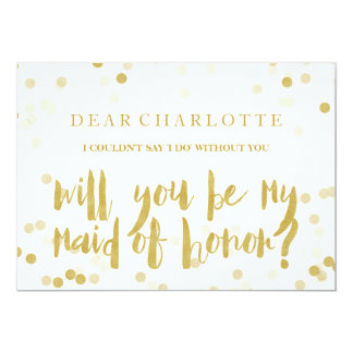 Faux Gold Confetti Will You Be My Maid of Honor カード