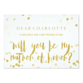 Faux Gold Confetti Will You Be My Matron of Honor カード
