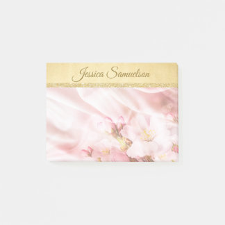 Faux Gold Foil & Pink Cherry Blossoms | Add NAME ポストイット