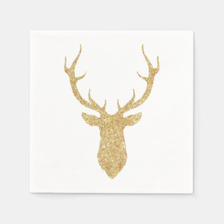 Faux Gold Glitter Christmas Deer スタンダードカクテルナプキン