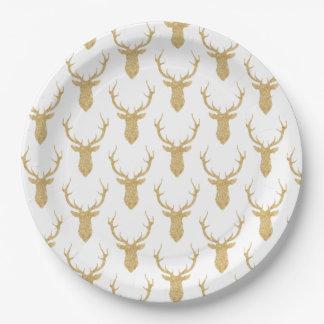 Faux Gold Glitter Christmas Deer ペーパープレート