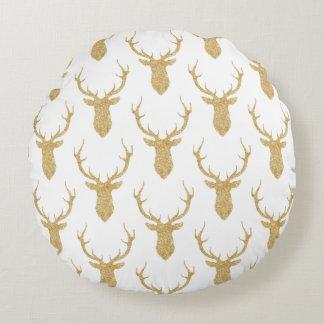 Faux Gold Glitter Christmas Deer ラウンドクッション