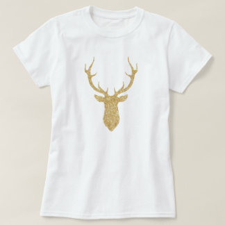 Faux Gold Glitter Christmas Deer Tシャツ