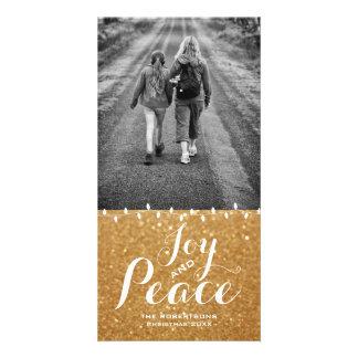 Faux Gold Glitter | Joy Peace Christmas Photo Card カード