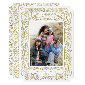 Faux Gold Holly Holiday Christmas Photo Card カード