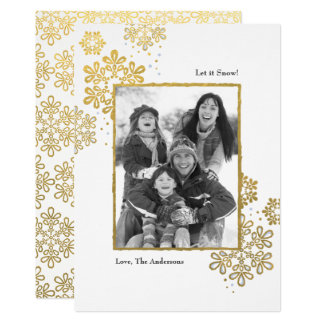 Faux Gold Let it Snow! Photo Christmas Card カード