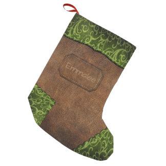 Faux Green Brown Monogram Leather スモールクリスマスストッキング