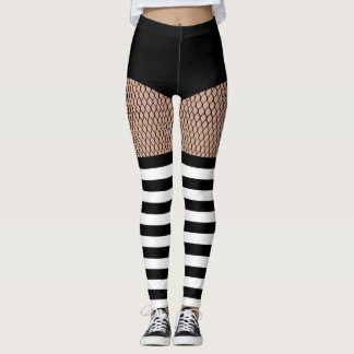 Faux OTK BW Striped Socks Fishnet Leggings レギンス