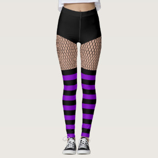 Faux OTK Purple Striped Socks Fishnet Leggings レギンス