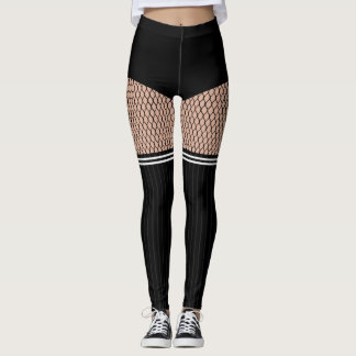 Faux OTK Striped Socks Fishnets Leggings レギンス