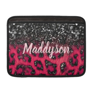 Faux Pink Black Glitter Leopard Spots Teen Girls MacBook スリーブ