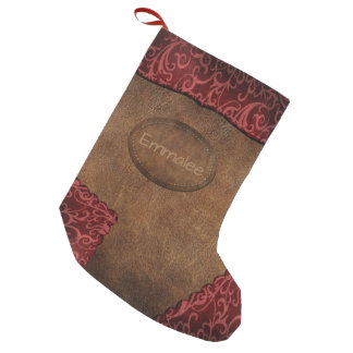 Faux Red Brown Monogram Leather スモールクリスマスストッキング