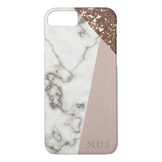 Faux Rose Gold Glitter Marble Blush Leather iPhone 8/7ケース
