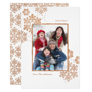 Faux Rose Gold Let it Snow! Photo Christmas Card カード