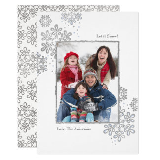 Faux Silver Let it Snow! Photo Christmas Card カード