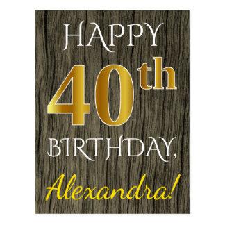Faux Wood, Faux Gold 40th Birthday + Custom Name ポストカード