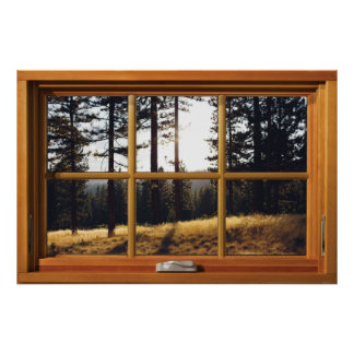 Faux Wooden Window Illusion - Autumn Pine Trees ポスター