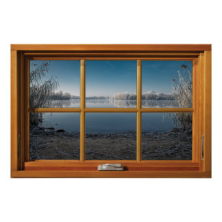 Faux Wooden Window Illusion - Frosty Winter View ポスター