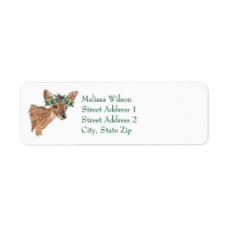 Fawn Deer Christmas Return Address Labels 返信用宛名ラベル