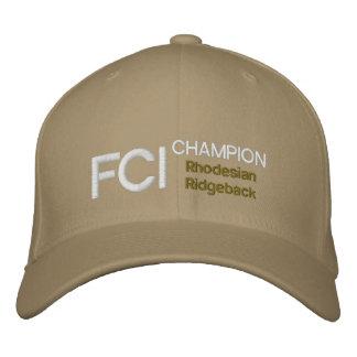 FCIのチャンピオンのRhodesian Ridgebackの帽子 刺繍入りキャップ