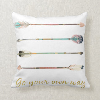 Feather Arrows Go Your Own Way Boho Tribal Pillow クッション