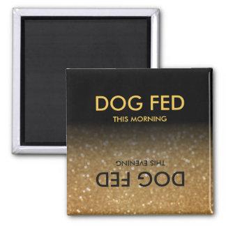 Feed Dog Reminder Magnet Black, Gold Glitter Ombre マグネット