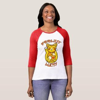 Feelinの幸運な猫 Tシャツ