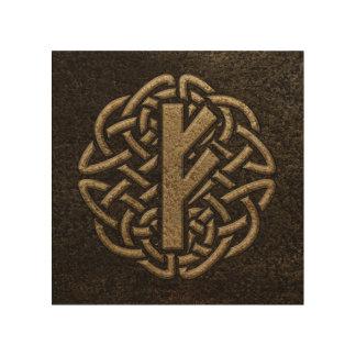 FehuのRuneの古代金属のエンボスのお守り ウッドウォールアート
