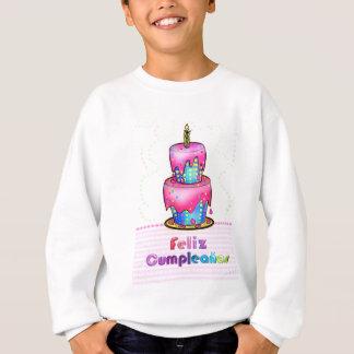 Felizのcumpleañosのスペインのなおもしろいのお誕生日ケーキのギフト スウェットシャツ
