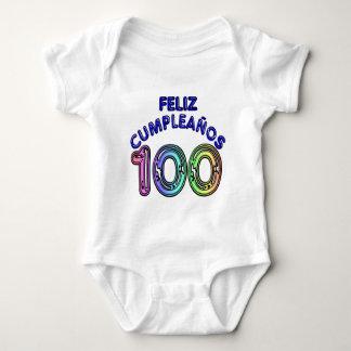 Feliz 100th Cumpleaños ベビーボディスーツ